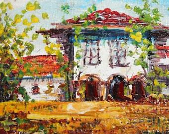 Vintage oil painting impressionist landscape house