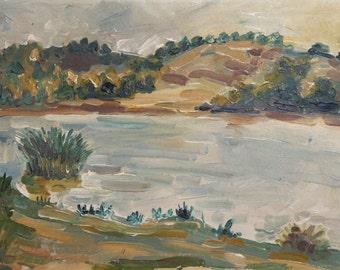 1992 oil painting river scene signed
