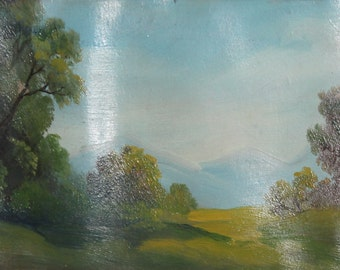 Antique oil forest landscape oil painting