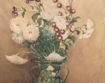 1974  still life flowers oil painting