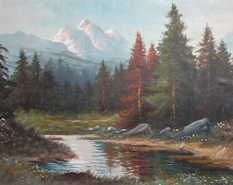 Antique oil painting mountain landscape lake