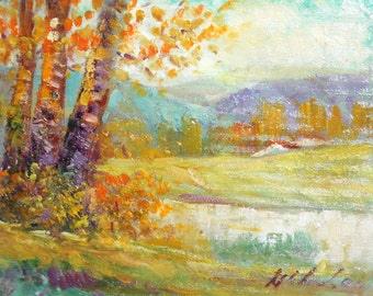 Landscape impressionist oil painting signed