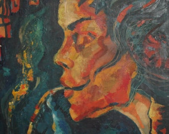 Vintage abstract oil painting portrait