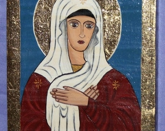 Orthodox Virgin Mary  hand painted icon