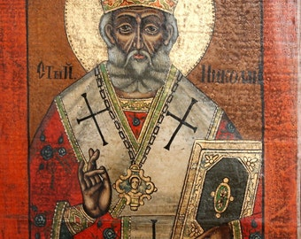Saint Nicholas Hand Painted Vintage Orthodox Icon