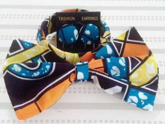 Accessory Set - Earrings, Bow & Bangle - Ankara print - African print bangle - Fashion accessories set