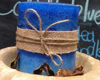 Cobalt Blue Triple Scented Pillar Candle
