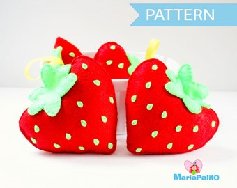 Felt Strawberry Pattern, Felt Food Pattern, Plush Kids Craft Project, Pdf Pattern, Sewing Pattern, Instant Download A869