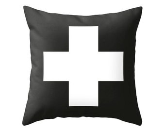 Swiss cross pillow cover Black and white swiss cross pillow black and white cushion black and white pillow swiss cross cushion