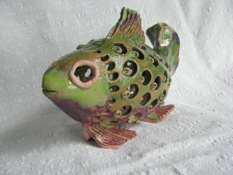Ceramic fish figurine fish sculpture tropical decor by for Ceramic fish sculpture