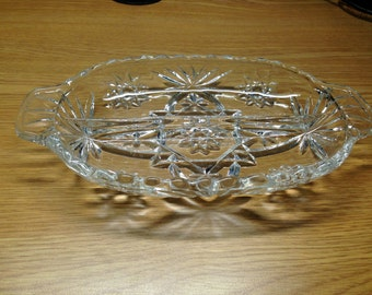 Vintage Pressed Glass Divided Relish/Condiment Dish- 2 Sections Oblong Starburst