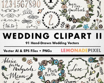 Chalkboard Wedding Clipart Hand drawn clipart doodle