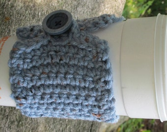 Blue Fleck Crochet Cup Cozy with Button Ready to Ship