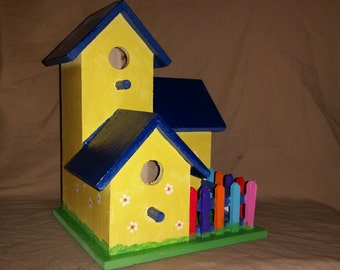 Cheerful Three-Tiered Birdhouse