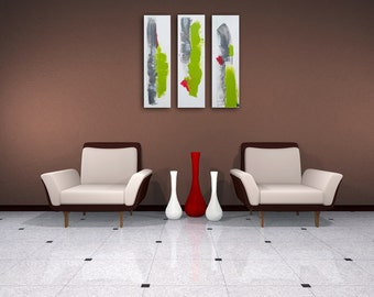 abstract acryl painting modern life triptych