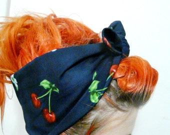Cherry Headband Rockabilly 50s Head Band Pin Up Accessory 50s Psychobilly Cherries Hair Wrap