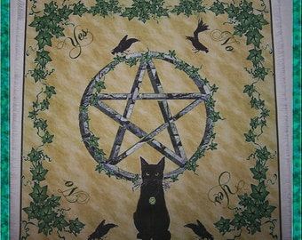 Wiccan Black Cat Scrying Mat, Dowsing wiccan Magic Divination.