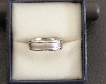 6mm Men's Wedding Band in 14 K White Gold satin finish center elegant look.