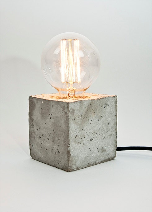 lj lamp alpha concrete table lamp with textile cable by ljlamps. Black Bedroom Furniture Sets. Home Design Ideas