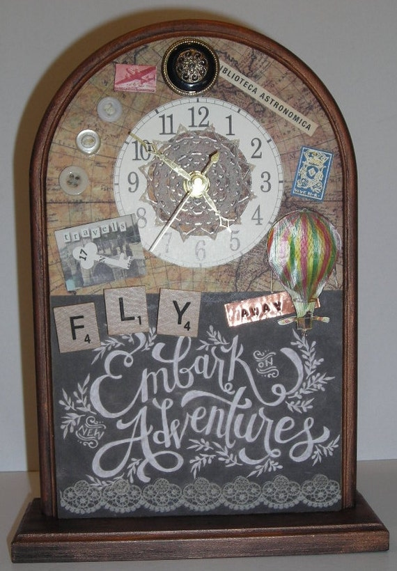 Steampunk clock desk clock mantle clock decorative clock - Steampunk mantle clock ...