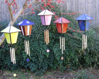 Stained Glass Birdhouse Wind Chime PDF Instructions and Pattern