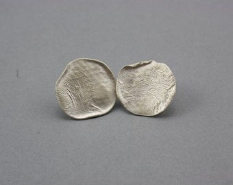 Rippled Textured Sterling Silver Statement Stud Earrings