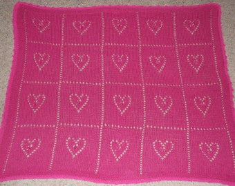 """Hand Knitted & Decorated Pink Cotton Baby Blanket. """"Hearts"""""""