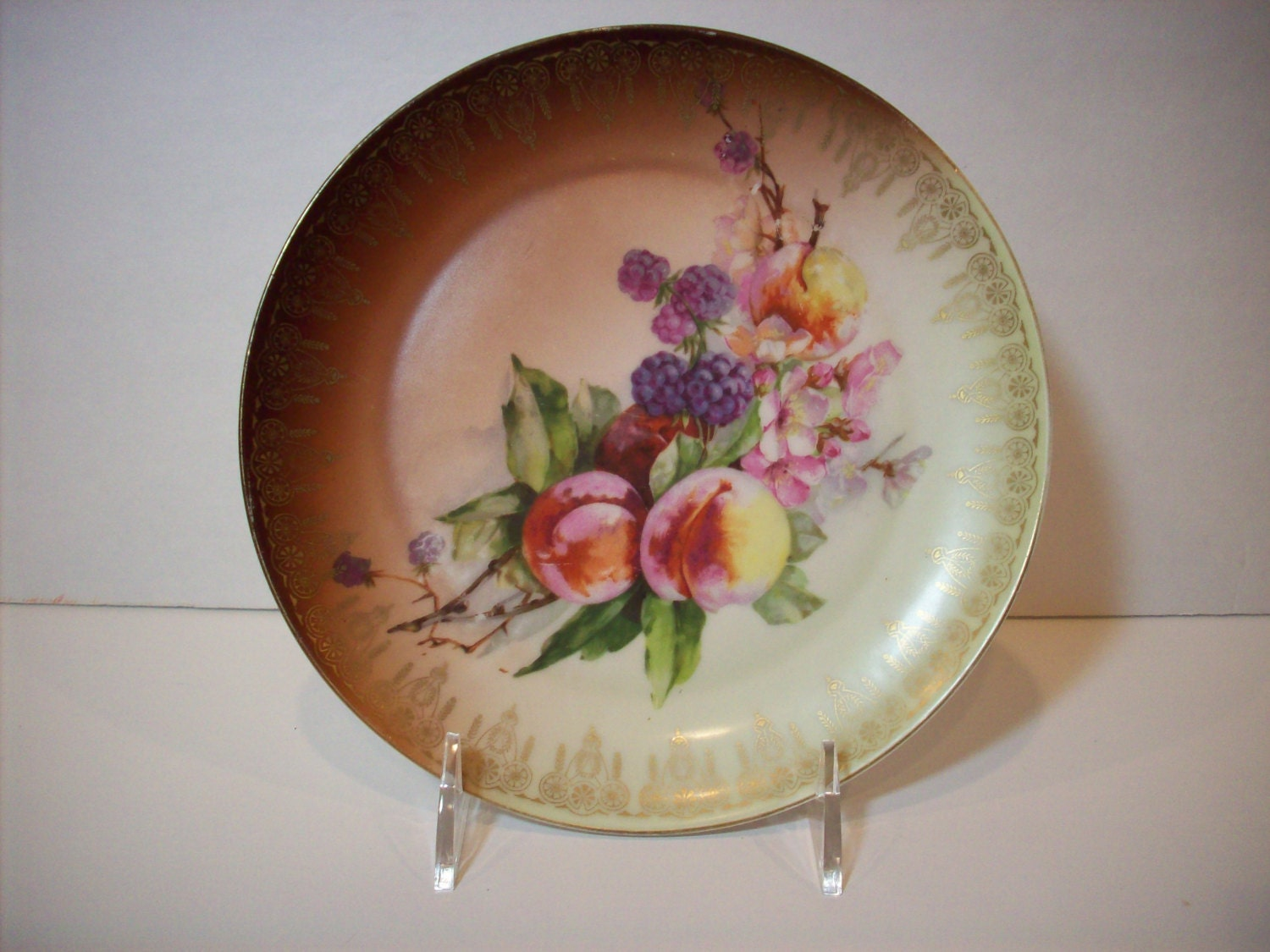 Antique Hand Painted Decorative Plate Home Decor Fruit And
