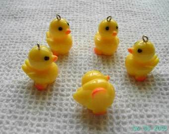5 Resin Rubber Ducky Pendant charms- 25mm yellow or mixed colour Duck