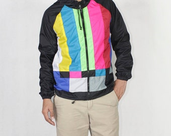 TV Color Bar Windbreaker Hood Jacket Waterproof.