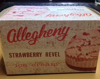 Vintage 1960's  Allegheny Strawberry Revel One Pint Ice Cream Container, Never Used