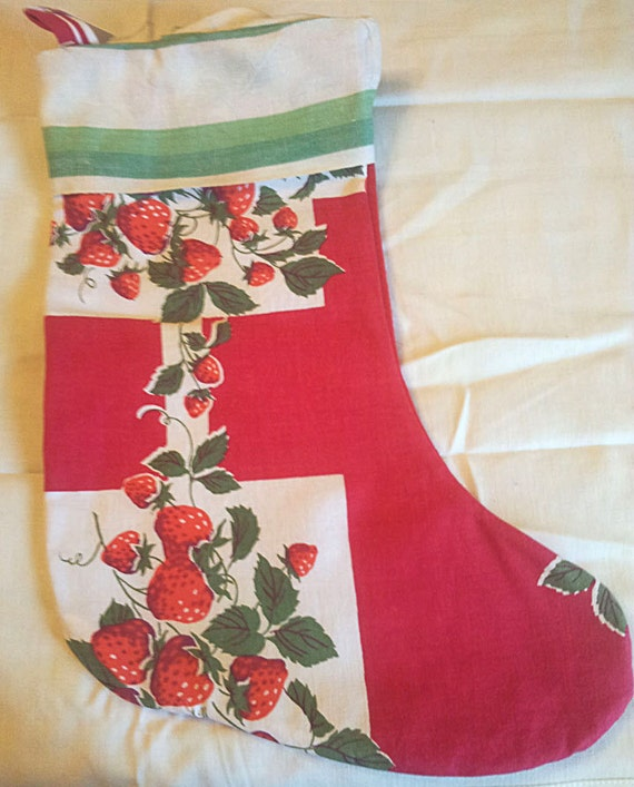 SALE  Vintage Fabric Christmas Stocking  was 20  now 14  SALE!!!!!