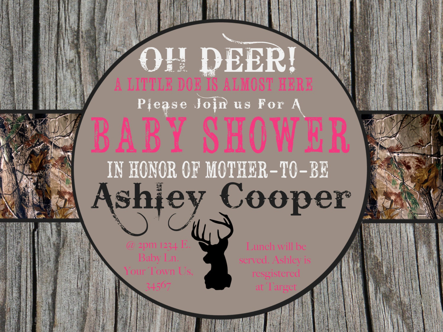 camo baby shower invitation pink by mykaexpressions on etsy