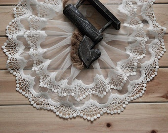 White Lace Cotton Trim Embroidery Tulle Lace Trim 5.9 Inches Wide 2 Yards K034