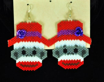 Red Hat Monkey earrings