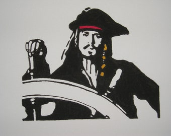 JOHNNY DEPP ~ Jack Sparrow ~ Pirates of The Carribean ~ Hand Painting on canvas