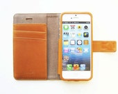 iPhone 5 5S 5C leather wallet case cover in British Tan - handmade  - no plastic