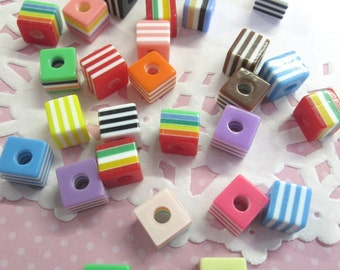 10mm Striped Square Cube Beads, Mix Stripe Resin Beads, 50 Pieces, #824b