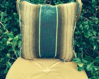 Vintage Mohair Blue & Brown Stripe Pillow