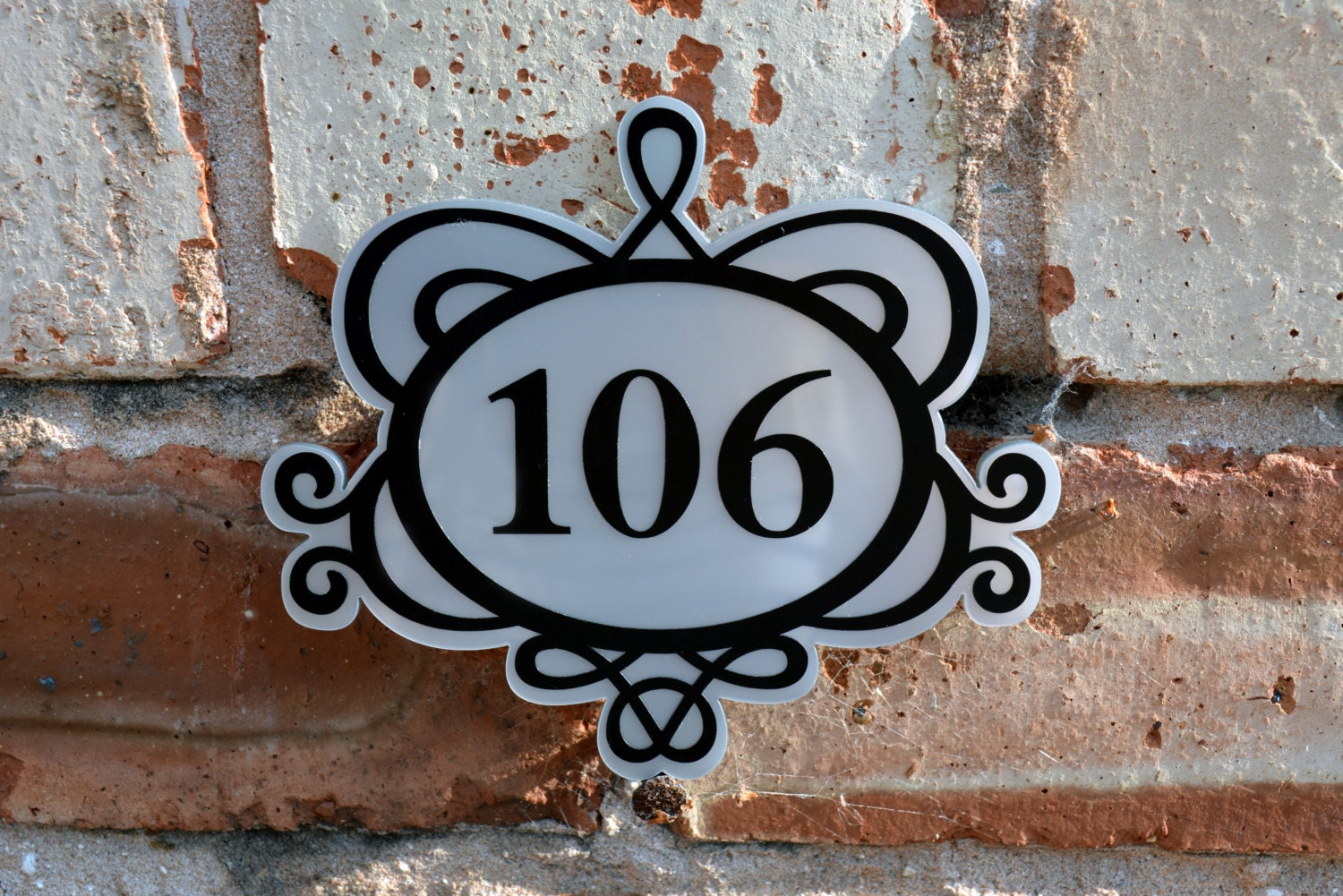 Ornate decorative house number front door plaque by for Front door number plaques