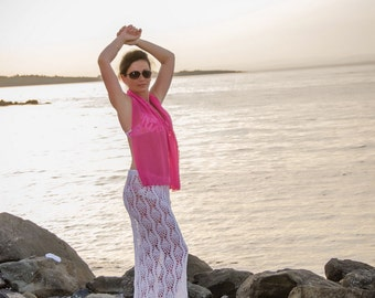 White lacy beach skirt, Crochet Lace Skirt