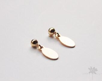 Small simple 14k gold filled oval charm blank studs drop dangle earrings