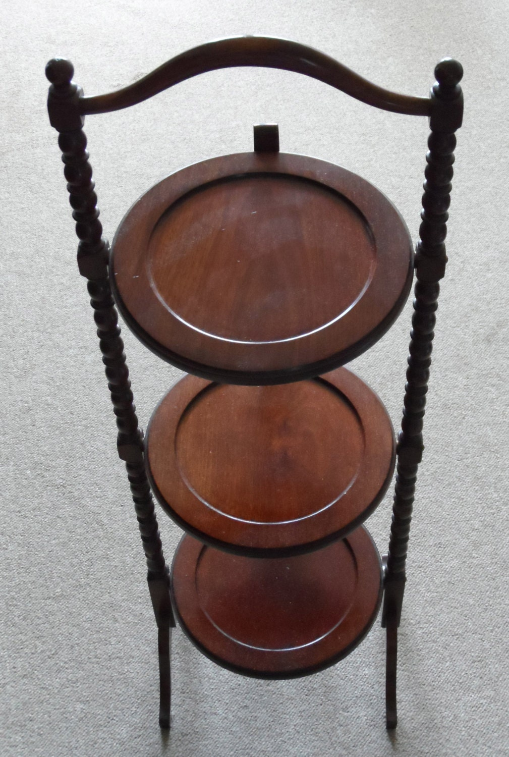 antique cake stands circa 1880 1910 antique solid mahogany 3 tier cake display 1323