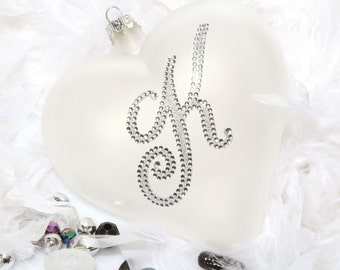Personalised White Bling Monogram Frosted Heart