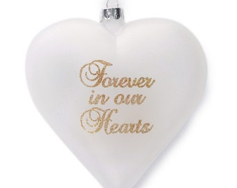 Personalised Frosted Glass Heart - Forever in our Hearts
