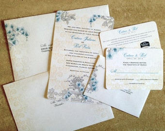 Orchids Fleur De Lis Wedding Invitation Suite 6pc, Round Corners, 2 Side  Invite,