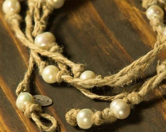Recycled Hemp Bohemian Wrap Bracelet/Necklace with Freshwater Pearls