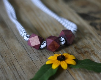 Blueberry Geometric Wooden Bead Necklace // Nursing, Breastfeeding, Organic, Eco Friendly, Non Toxic