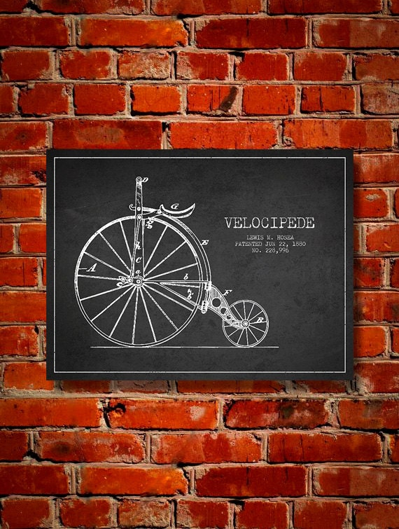 1880 Velocipede Patent Canvas Print Wall Art Home Decor