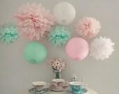 Mint Pink Wedding Decoration Lanterns mint wedding,Blush Pink Birthday Decor,Mint Decor,Mobile Decor,Reception,Baby Shower,Bridal Shower